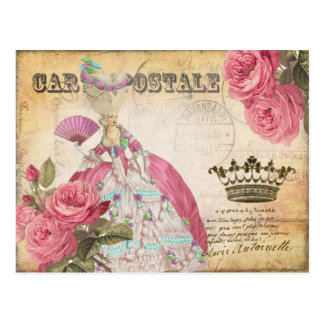 Postal Marie Antoinette Gold Crown Rose Post Card