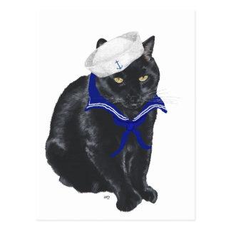 Postal Marinero del gato negro