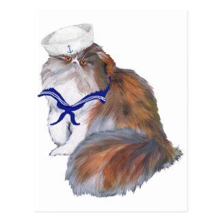 Postal Marinero del gato persa del calicó
