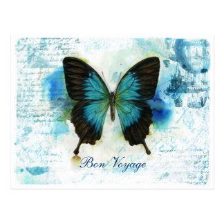 Postal Mariposa azul VictorianTravel del buen viaje