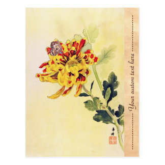 Postal Mariposa clásica del crisantemo del ukiyo-e del