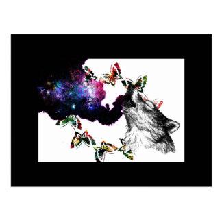 Postal Mariposa del lobo que fuma floral