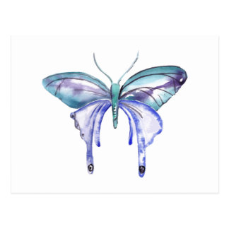 Postal mariposa púrpura azul de la aguamarina de la