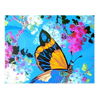 Postal Mariposa rosada y azul