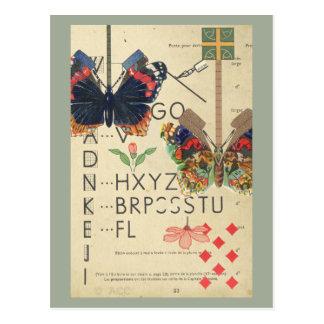 Postal Mariposas del vintage