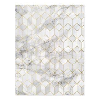Postal Mármol blanco con el modelo del cubo del oro