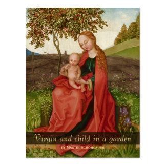 Postal Martin Schongauer la virgen y el niño en un jardín