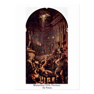 Postal Martirio de St. Vavrinec por Titian