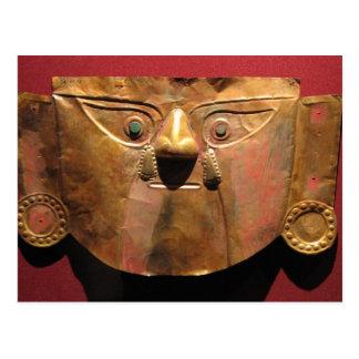 Postal Máscara del oro del inca, Lima, Perú