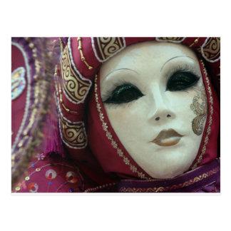 Postal máscara hermosa de Venecia