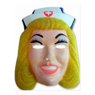 Postal Máscara retra de la enfermera de Halloween de los