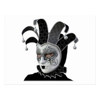 Postal Máscara veneciana negra de Carnivale en perfil