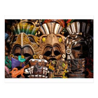 Postal Máscaras de madera mayas en México