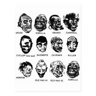 Postal Máscaras del monstruo del vintage del kitsch con