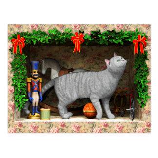Postal Materia del gato y del navidad
