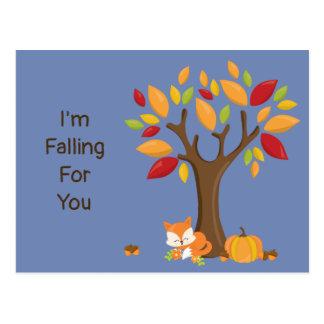 Postal Me estoy cayendo para usted árbol del otoño