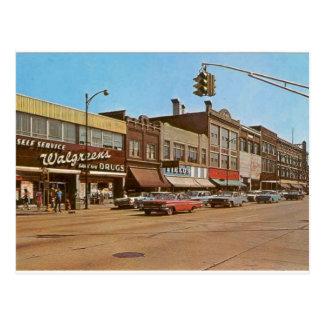 Postal Mediados de siglo Gary ADENTRO - 6to y Broadway
