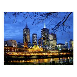 Postal Melbourne, Australia. Una opinión de la noche del