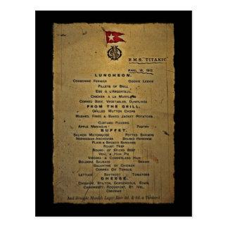 Postal Menú pasado RMS titánico