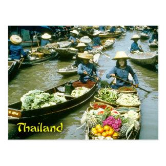 Postal Mercado flotante de Tailandia