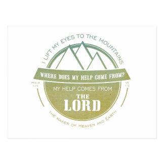 Postal Mi ayuda viene del señor, verso verde del logotipo