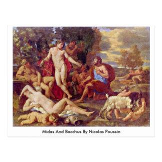 Postal Midas y Bacchus de Nicolás Poussin