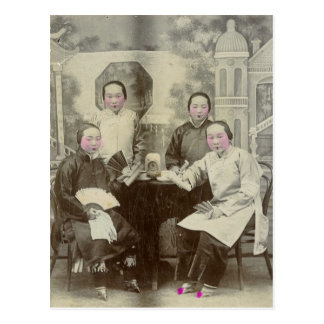 Postal Miembros del reparto, ópera de Pekín, circa 1880