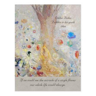 Postal Milagro de Odilon Redon Buda CC0211 de una flor