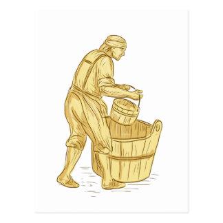 Postal Miller medieval con el dibujo del cubo