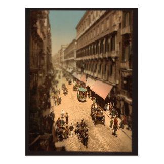 Postal Miniatura de la escena de la calle de Nápoles