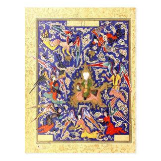 Postal Miniatura persa: El Mi'raj del profeta