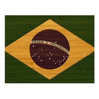 Postal Mirada de bambú y bandera grabada del Brasil del