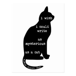 Postal Misterioso como cita de Edgar Allan Poe del gato