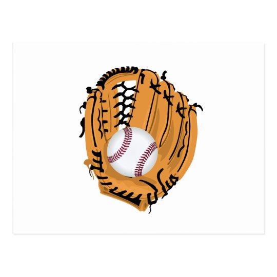 Postal Mitón y bola de béisbol