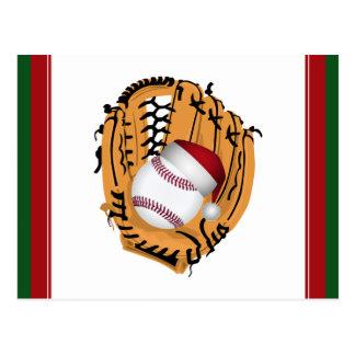 Postal Mitón y bola de béisbol del navidad