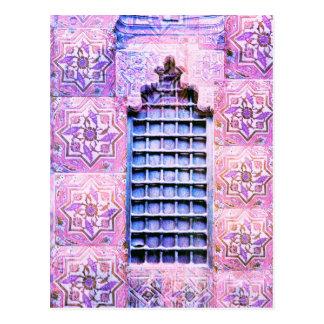 Postal Moda de Oranate Boho del rosa de la ventana de