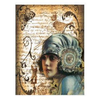 Postal Moda de París del chica de Gatsby del art déco