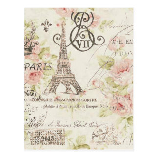 Postal Moda floral femenina de París del vintage elegante