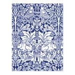Postal Modelo azul del vintage del conejo de William