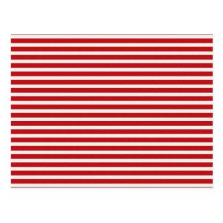 Postal Modelo blanco rojo náutico de las rayas del