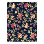 Postal Modelo color de rosa floral del vintage elegante