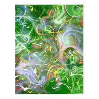 Postal modelo colorido verde