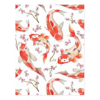 Postal Modelo de la flor de cerezo de Koi