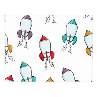 Postal Modelo de la nave de Rocket del dibujo animado