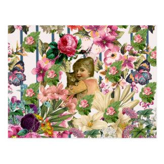 Postal Modelo de las rayas de las flores de los rosas del