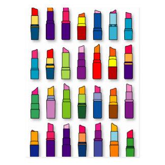 Postal Modelo de moda, femenino de los lápices labiales