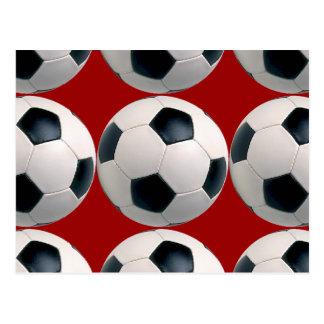 Postal Modelo del balón de fútbol en rojo