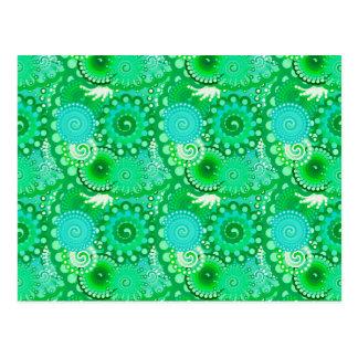 Postal Modelo del remolino del fractal, jade, turquesa,