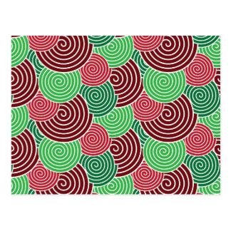 Postal Modelo espiral verde rojo del día de fiesta del