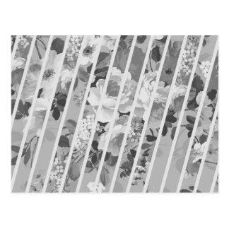 Postal Modelo floral gris blanco de las rayas del vintage